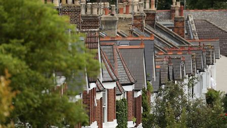 A view of the rooftops of houses in north London