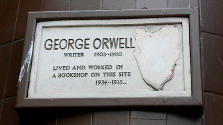 The plaque after it was defaced