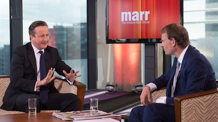 Prime Minister David Cameron (left) interviewed by Andrew Marr, appears on the BBC current affairs p