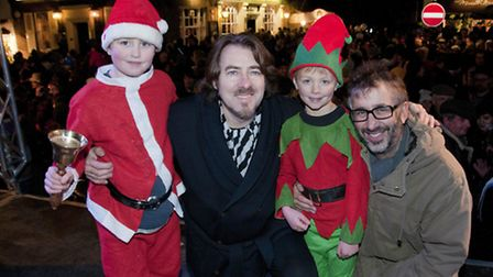 Jonathan Ross and David Badiel switching on the Hampstead Christmas lights in 2010
