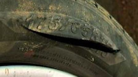More than 100 tyres were slashed in the early hours of Sunday morning.