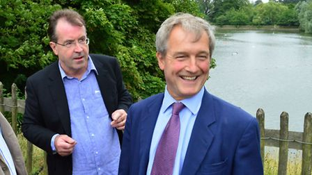Marc Hutchinson, Heath and Hampstead Society chairman, discussed the ponds project with then Environ