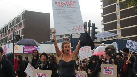 Lindsay Garrett on the march with Russell Brand, photo Emma Bartholomew