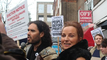 Lindsay Garrett at the protest with Russell Brand, photo Emma Bartholomew