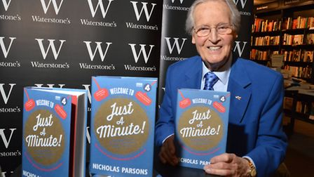 Broadcaster Nicholas Parsons at Waterstones in Hampstead on 20.11.14.