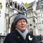 Members of the Heath swimming associations outside the Royal Courts of Justice. Eve Featherstone fro