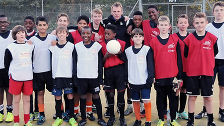 Stuart Pearce, Nottingham Forest manager, leads a football coaching class at Haverstock School. Pict