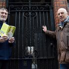 """David Kitchen, chair of SEGA, and Prof. David Ketterer at the Pond St entrance to """"Triffid Alley"""" NW"""