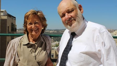 Michelle Hirschfield and her late cousin Avraham Shmuel Goldberg at his home in Har Nof in September