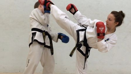 Jade Doran (right) practises with her brother Daniel