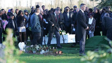Family and friends of Rasharn Williams at the City of London cemetry