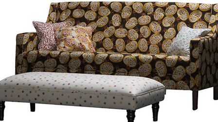 Charming Charles large sofa from £1,799 and Aztec footstool £549, in Emma Bridgewater fabrics, Sofa
