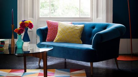 Zeppelin two seat Sofa, in Deep Turquoise, £1,245, Sofa.com. PA Photo/Handout