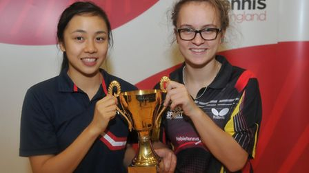 Tin-Tin Ho (left) and her partner Maria Tsaptsinos defended their girls� doubles title at the junior
