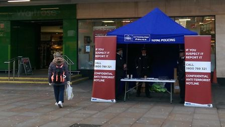 Police were handing out free emergency grab bags to businesses along Finchley Road on Monday