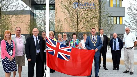 Waveney District Council flying the Red Ensign at their Riverside building to mark Merchant Navy Day