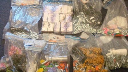 Nitrous oxide canisters, balloons and dispensers that were seized in Shoreditch