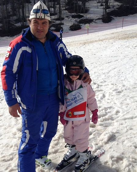 Ski instructor Achille with Ines.