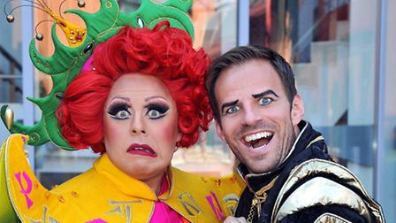 la voix as widow twakney and ben richards as abanazar as aladdin at The Shaw