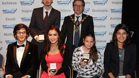 Pupils from Haverstock School with the Mayor of Camden at the Jack Petchey Awards