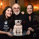 Lorraine Chase and Peter Egan with Ira Moss (left) from charity All Dogs Matter at Burgh House 23.11