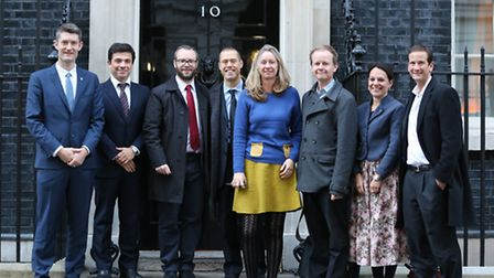 Members of the Kentish Cluster group outside Number 10 Downing Street