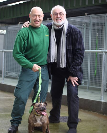 """Peter Egan, right, at the launch of the new kennels at Hackney dog pound with """"T"""", who manages it."""