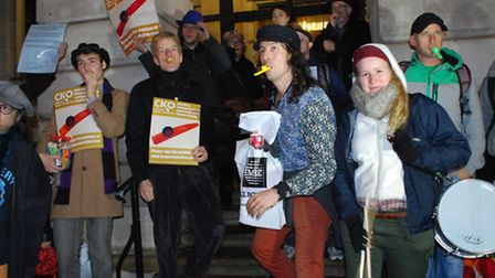Jonny Walker (centre) leads a protest outside Camden Town Hall. Picture: Polly Hancock.