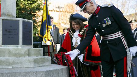 Remembrance Sunday Parade in Hackney lay wreaths and pay their respects outside Hackney Town Hall on