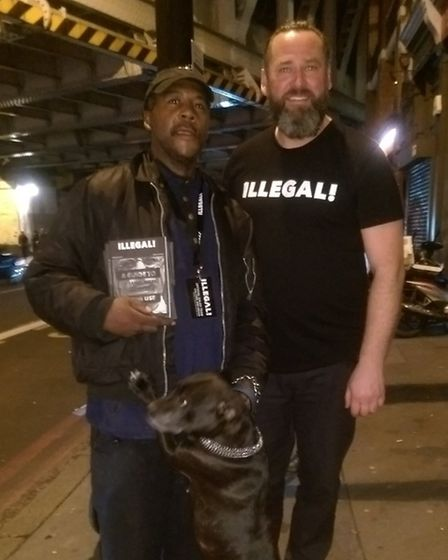 Ricky, a seller, with Michael (right)