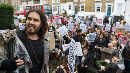 08/11/2014. Russell Brand joins a group of east London residents who protest against rising housing
