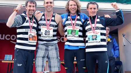 Highgate Harriers' bronze medallists at the national cross country relay championships: (left to rig