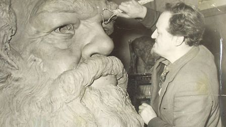 Lawrence Bradshaw working on clay model of Karl Marx statue, 1955 [photo: Laurence Henderson]