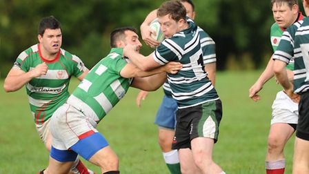 John McCarthy (centre) scored Hendon's first try. Pic: Paolo Minoli