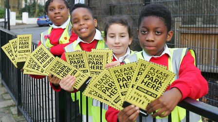 Junior Road Safety officers at St Scholastica's Primary School, Eden Agyemang, age10 Ella How, age9