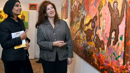 artBeez founder Monica Martini and Hampstead School of Art principal Isabel Langtry view works Pictu