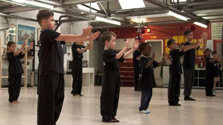 Young students training at Loong Fu Chinese Martial Arts school, Dalston