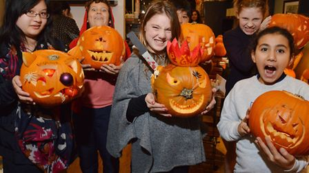 Children at the Legal Cafe in Steeles Village with their pumpkins. from left 2nd prize winner Cindy