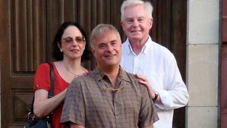 Leonard Whiting (middle) with wife Lynn and actor Sir Derek Jacobi, a neighbour of his