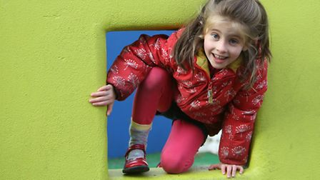 Matilda Bowman-Pester, five, competiting in the Mini Olympics at William Patten Primary School in St