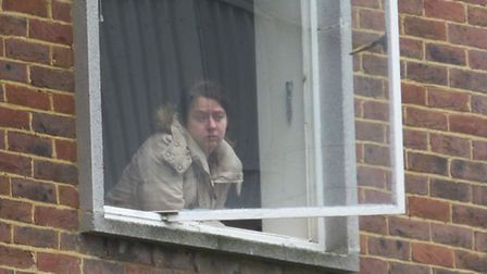 One of the squatters inside the building. Picture: Nigel Sutton.