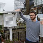 Ben Lee-Rodgers with his weather station on his roof terrace on the edge of Hampstead Heath. Picture