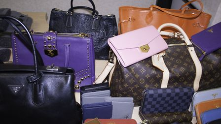 A selection of the suspected fake designer goods seized in a trading standards raid in Golders Green