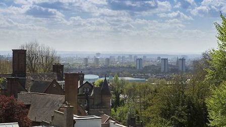 Views over London from the top floor of Church Row, NW3