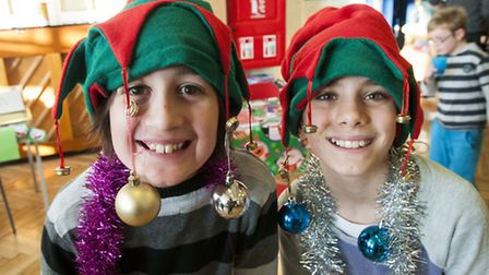 Elves Lola and Abe at the Beckford Primary School winter fair to raise money for the kitchen garden.