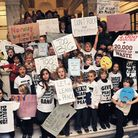 Primary school pupils protest against the New End development inside Camden Town Hall. Picture: Diet