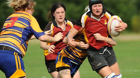 Alex Bowtell scored the opening try for Hampstead Ladies. Pic: Paolo Minoli