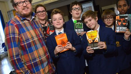 Author Robert Muchamore visits William Ellis School where he took questions and signed books with pu