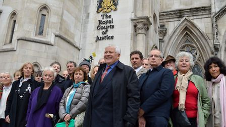 Members of the Heath swimming associations outside the Royal Courts of Justice. Picture: Polly Hanco