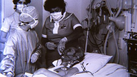 Ken Harris in The Harley Street Clinic after a heart transplant and just before he was transferred t